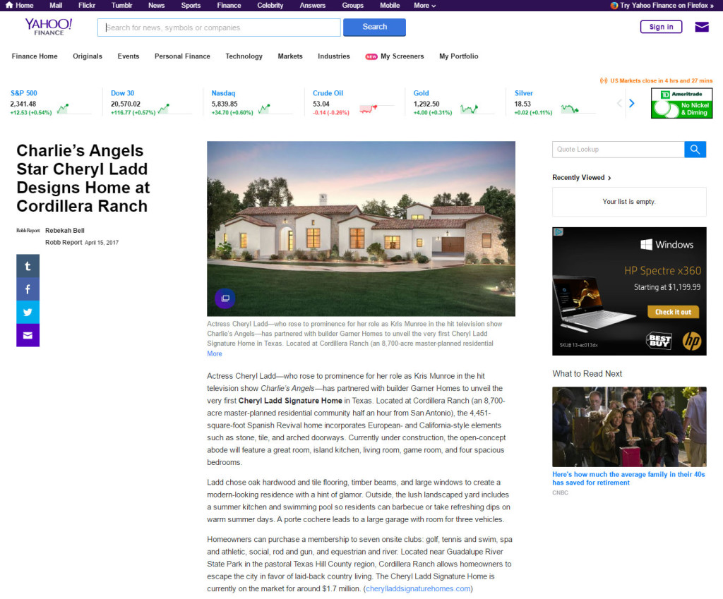 Robb Report, Yahoo! Finance Spotlight Cheryl Ladd Signature Homes ...