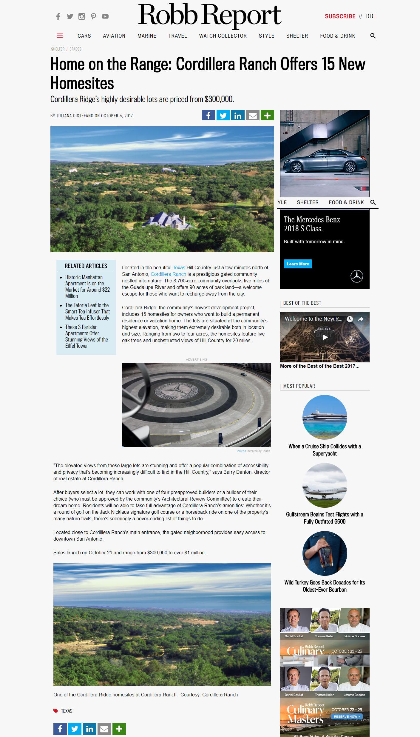 Robb Report, SABJ Spotlight Cordillera Ridge - Cordillera Ranch